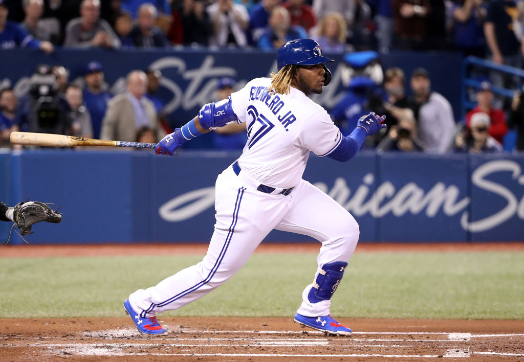 bb35a6aae Vladimir Guerrero Jr. grounds out in his first at-bat for the Toronto Blue