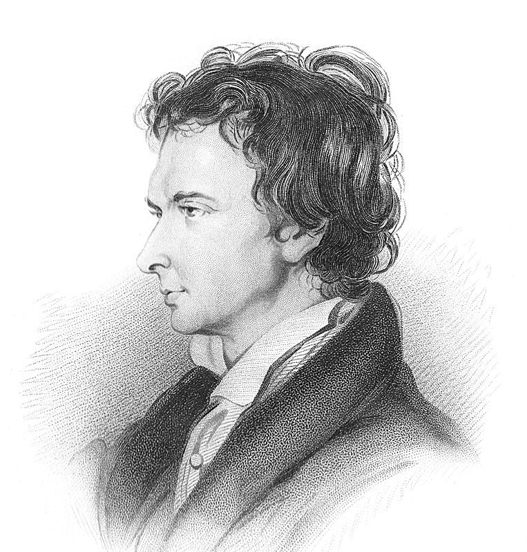 Portrait of William Hazlitt, derived from an 1825 sketch by William Bewick.