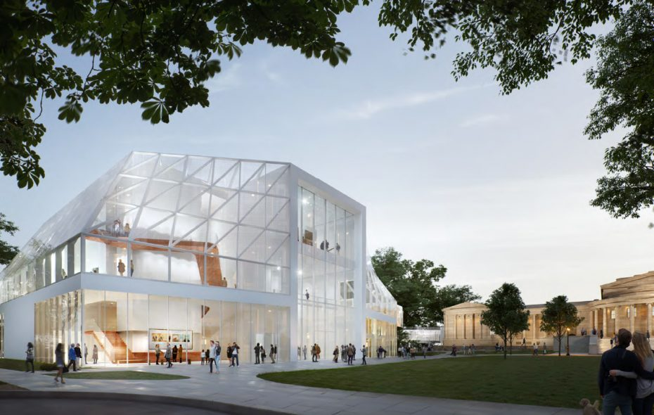 The Albright-Knox Art Gallery's expansion features a new, 30,000-square-foot glass-enclosed building along Elmwood Avenue. (Image courtesy of Albright-Knox)