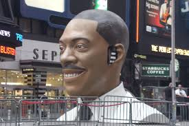 Bust of Eddie Murphy in New York City's Times Square