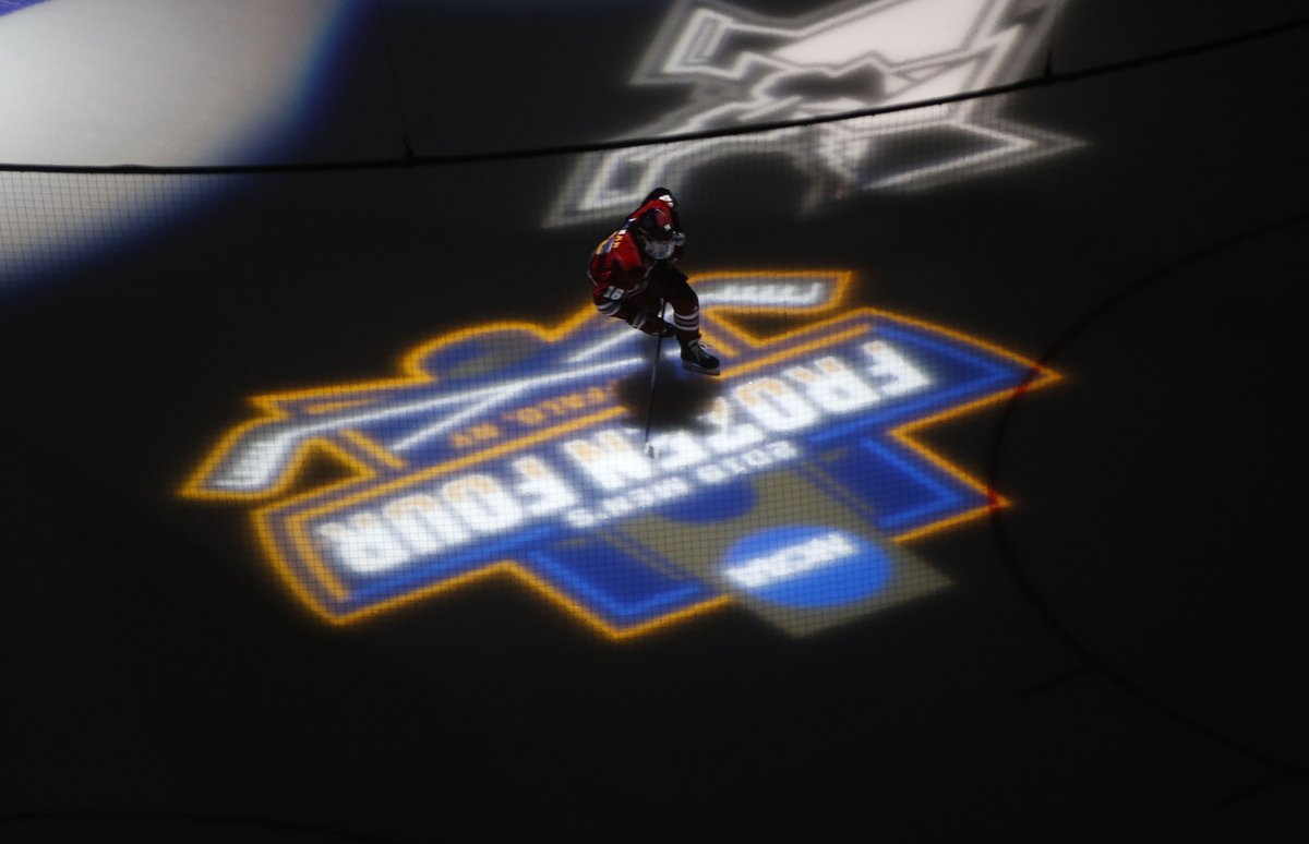 Massachusetts skates before the start of the Frozen Four national championship game against Minnesota-Duluth on Saturday at KeyBank Center. (Mark Mulville/Buffalo News)