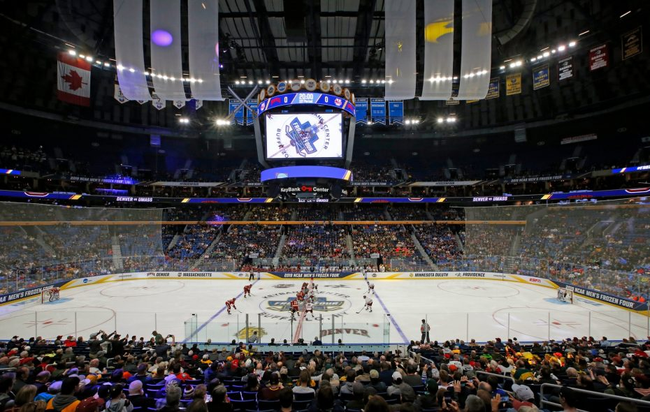 The opening faceoff between Denver and Massachusetts in a Frozen Four semifinal Thursday at KeyBank Center. (Harry Scull Jr./Buffalo News)