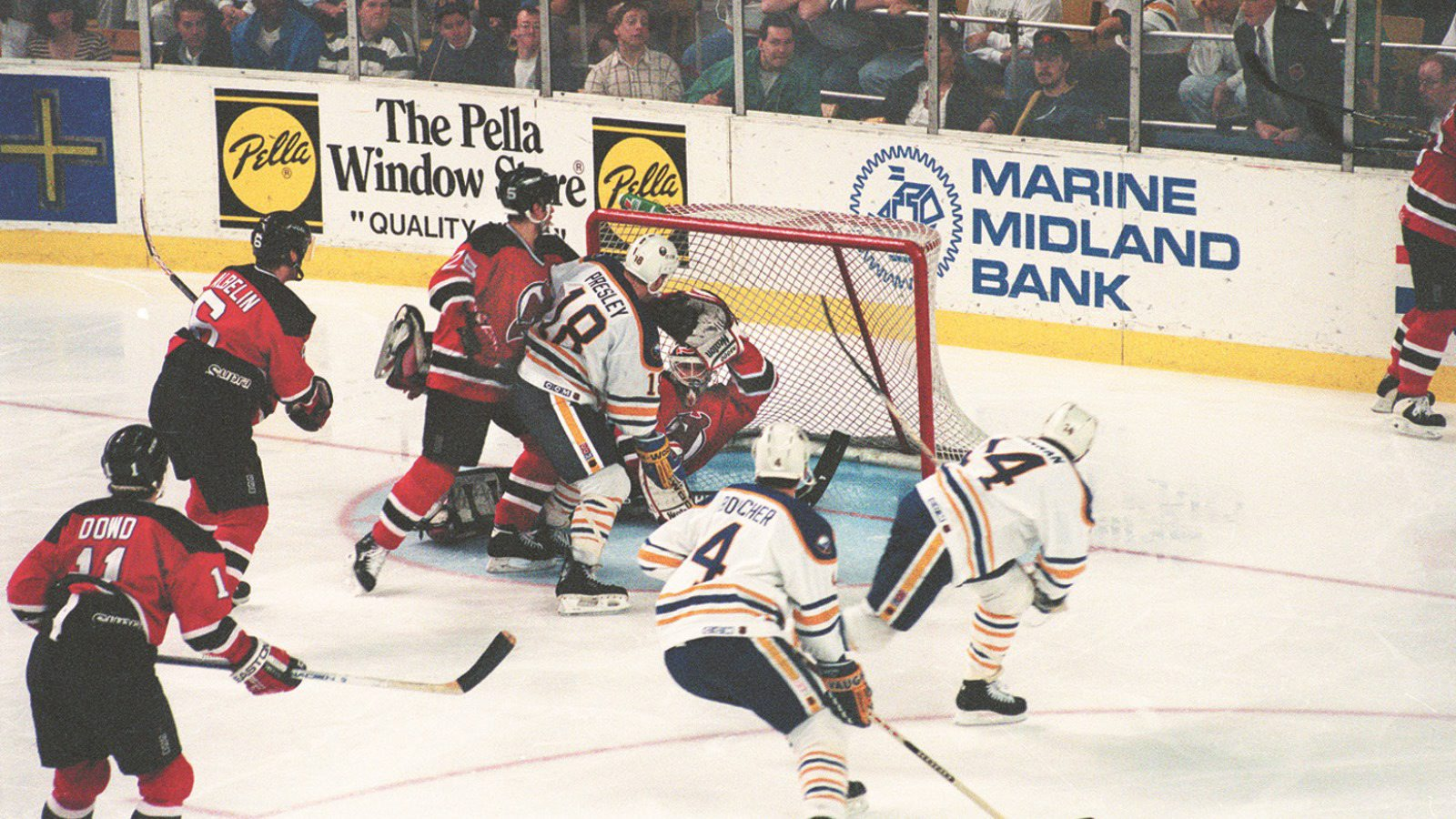 Dave Hannan scores the game-winning goal in the fourth overtime to win a playoff game against the New Jersey Devils 1-0 in Memorial Auditorium on April 28, 1994. (Buffalo News file photo)