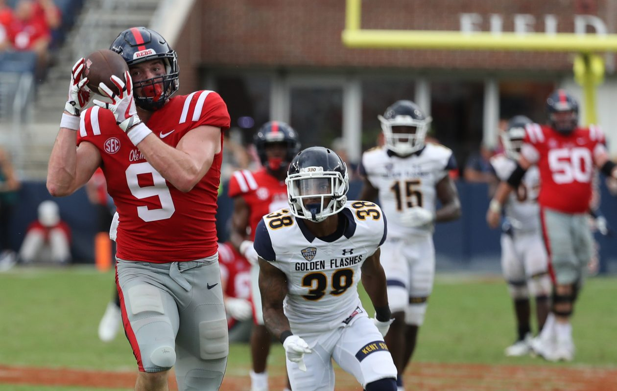 Dawson Knox did not get many opportunities, but made the most of them (Ole Miss Athletics)