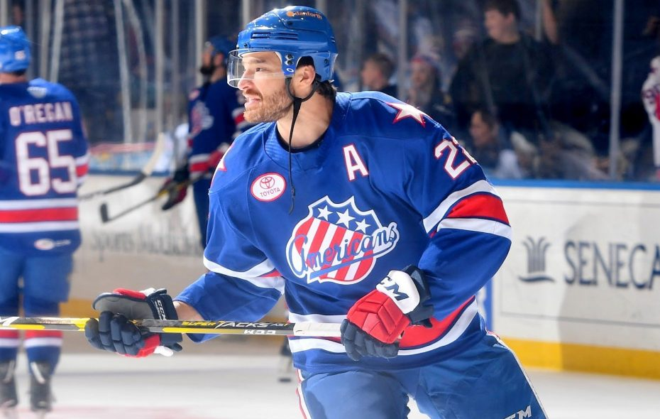 Zach Redmond was hampered by injuries but was named first team All-AHL. (Micheline Veluvolu/Rochester Americans)