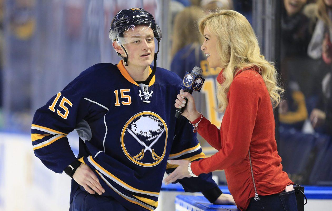 Lauren Hall interviews Buffalo Sabres' Jack Eichel.   (Harry Scull Jr./Buffalo News file photo)