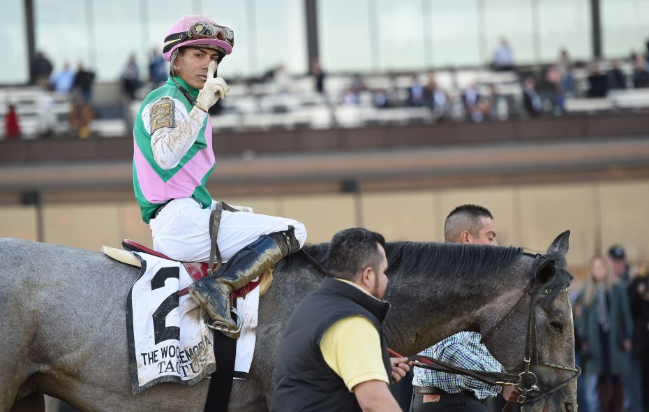 Tacitus, with Jose Ortiz up, won the Wood Memorial earlier in the month. (Photo courtesy of Elsa Lorieul at the NYRA)