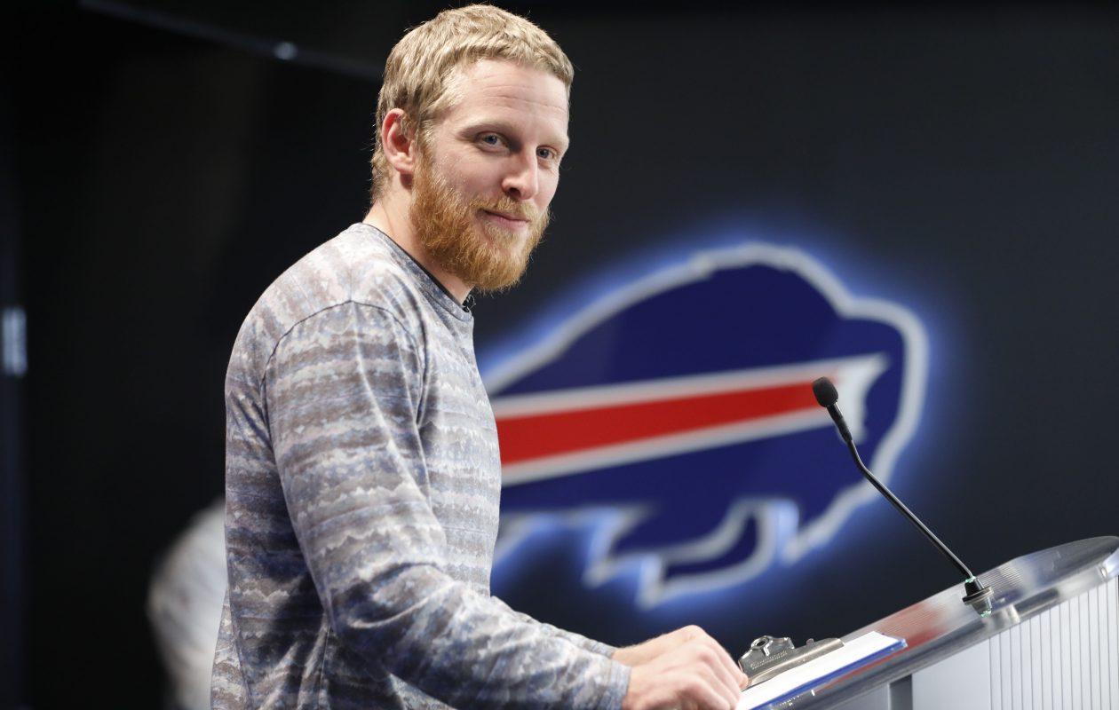 New Buffalo Bills wide receiver Cole Beasley talks to the media at One Bills Drive, Thursday, March 14, 2019. (Derek Gee/Buffalo News)