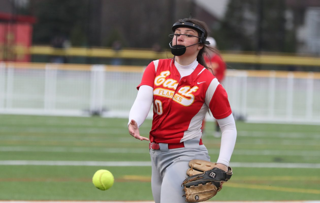 Williamsville East pitcher Cara Leone throws a pitch against  Amherst in the fifth inning at Williamsville East high school in Williamsville, NY on Monday, April 29, 2019.  (James P. McCoy/Buffalo News)