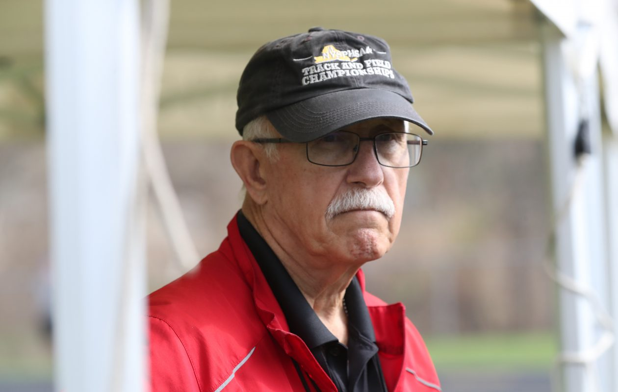 Kevin Carriero, 71, has coached Lancaster track and field for nearly 50 years. He took over the varsity team at age 22 after coaching junior varsity for one season. (James P. McCoy/Buffalo News)