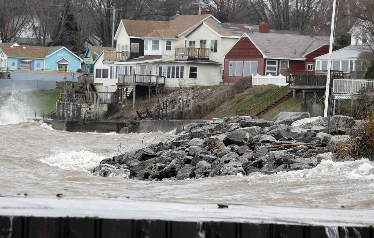 Rising water levels are likely to be a continuing threat along New York's Lake Ontario shoreline as a changing climate increases the water it must hold. (Mark Mulville/Buffalo News)