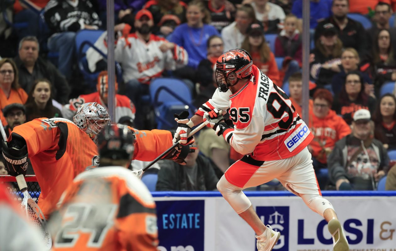 Buffalo Bandits forward Chase Fraser scores against the New England Black Wolves during Saturday's playoff win. (Harry Scull Jr./Buffalo News)