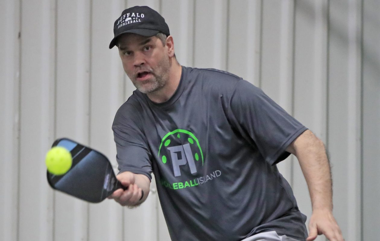 Jason Santerres, a co-owner of Pickleball Island in Grand Island, plays the game (Harry Scull Jr./Buffalo News)