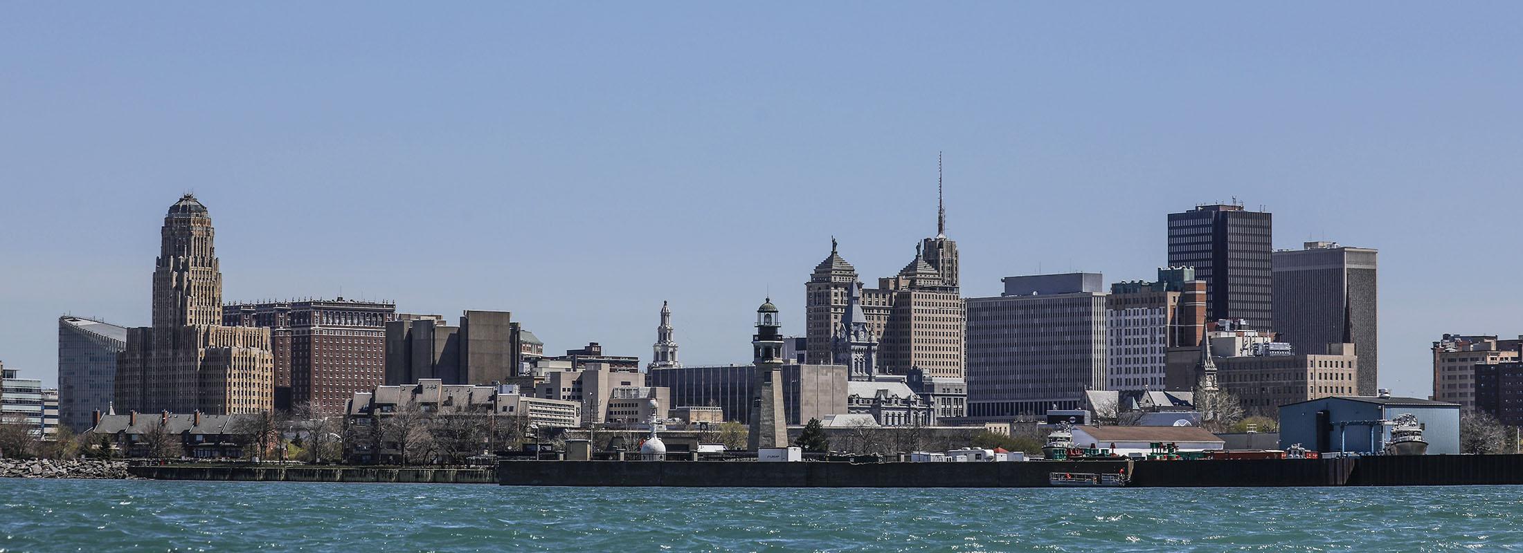 The Buffalo skyline as it appears from Lake Erie. (Derek Gee/Buffalo News)