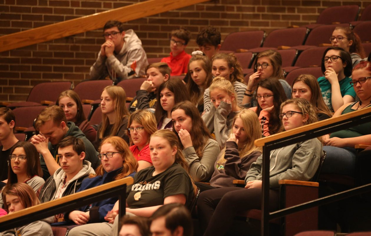 Students listen to the 'Buckle Up New York, Click It or Ticket' event at West Seneca East High School on Tuesday. (Derek Gee/Buffalo News)