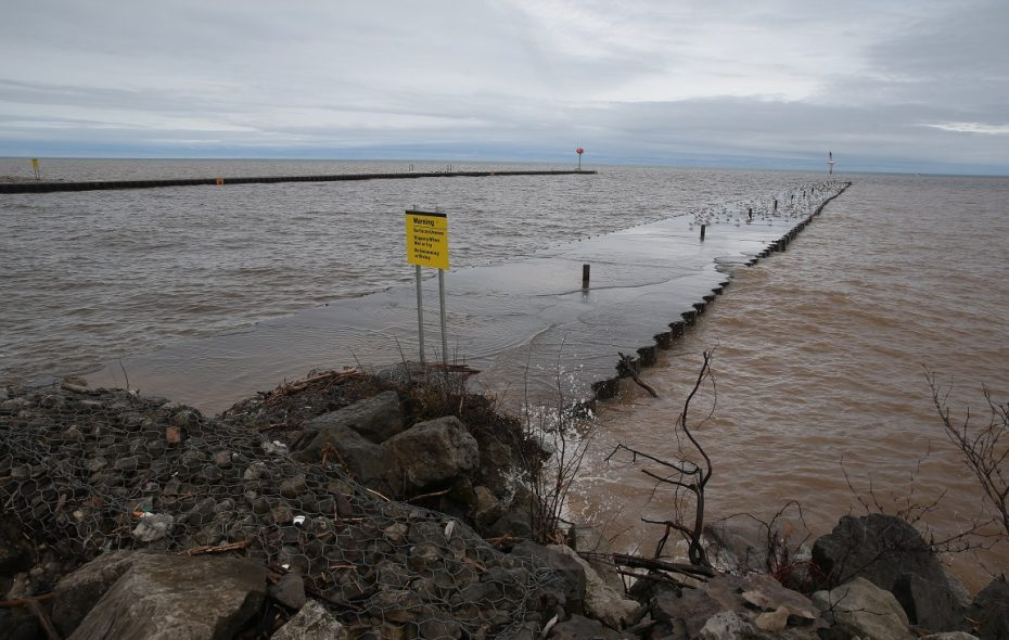 Lake Ontario at the East Pier of Olcott Beach on May 14, 2019. Lake Ontario isn't the only one of the Great Lakes being affected by high water levels this year. (John Hickey/Buffalo News)