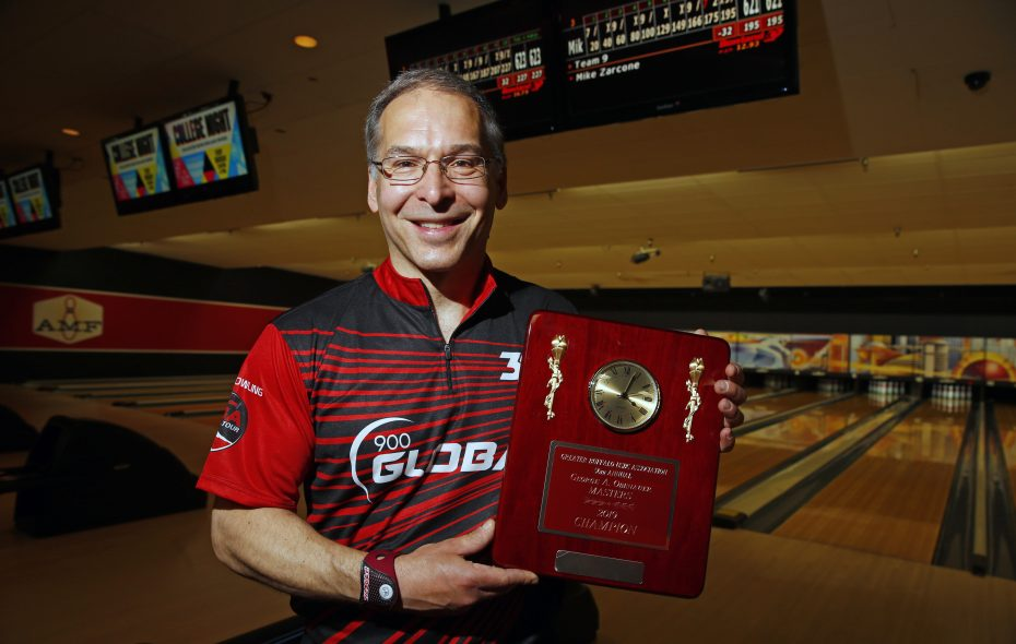 Jack Jurek defeats Mike Zarcone 623-621 to win the Obenauer Masters at the AMF Lancaster Lanes on Sunday, May 19, 2019. (Harry Scull Jr./Buffalo News)