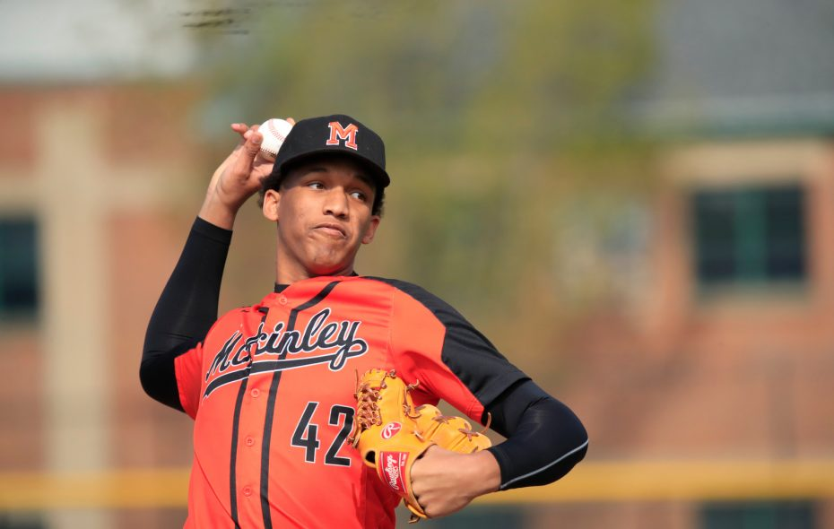 McKinley pitcher Alexander Johnson pitches last month against City Honors.(Harry Scull Jr./Buffalo News)