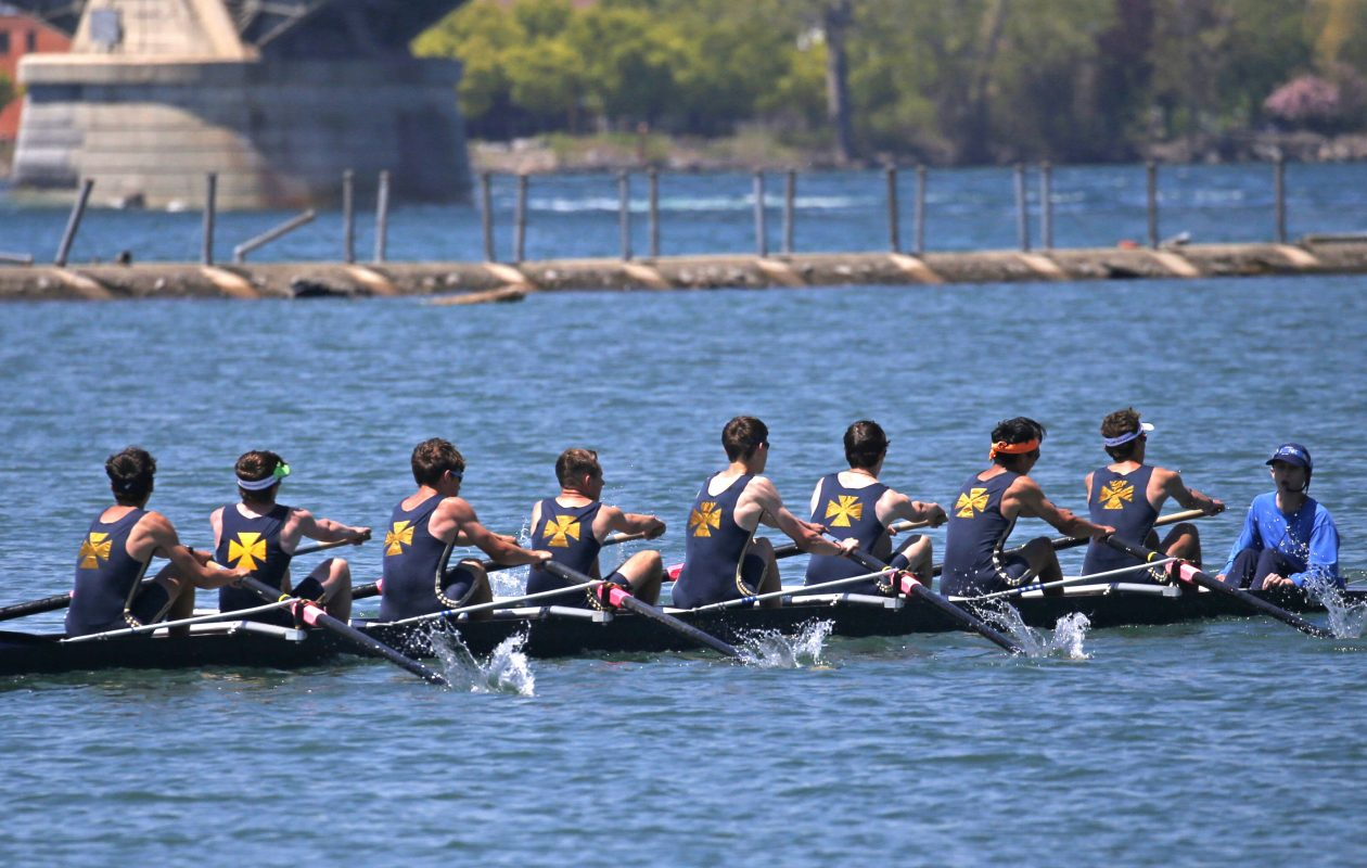 The Canisius High School boys lightweight 8+ team crosses the finish line for the win during the Fontana All High Regatta at West Side Rowing Club on the Black Rock Canal on Monday, May 27, 2019.  (Robert Kirkham/Buffalo News)