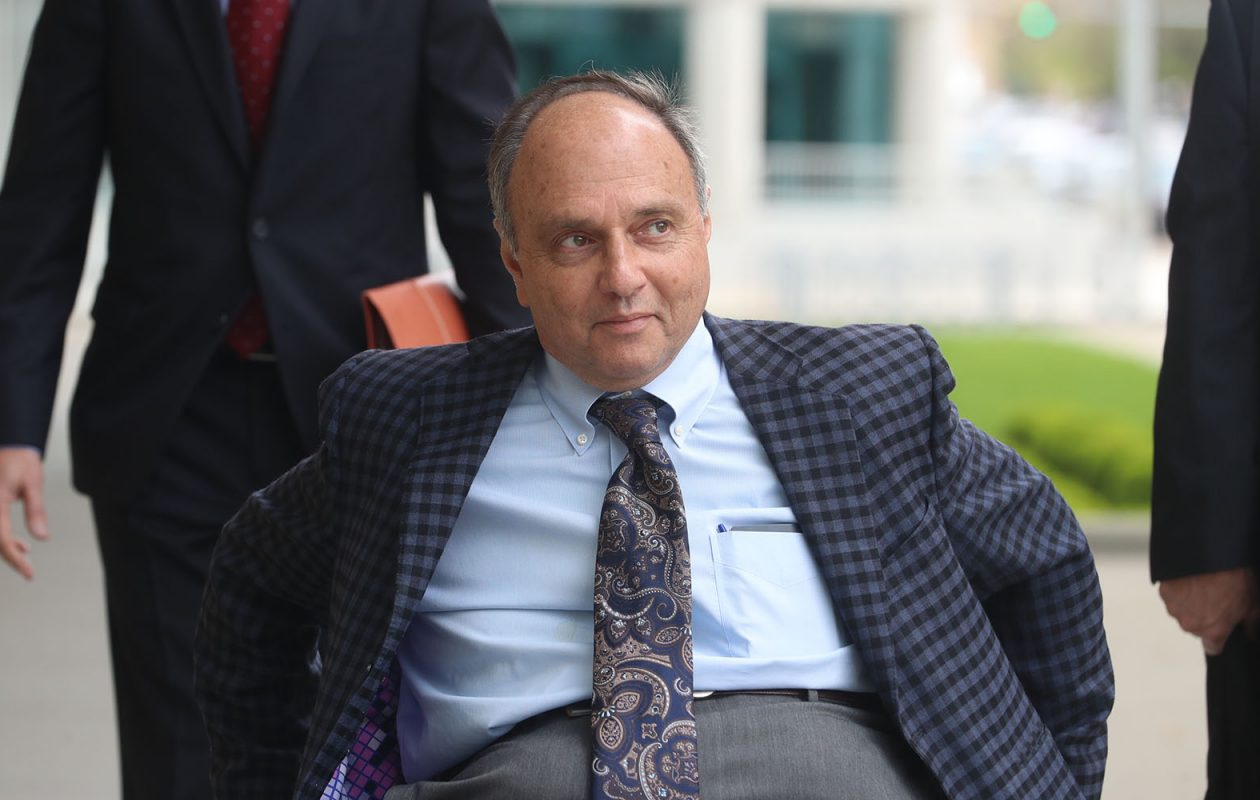 Rochester developer Robert C. Morgan, photographed arriving  at the Robert H. Jackson U.S. Courthouse in Buffalo Wednesday,  has been charged  with 46 counts of wire fraud, bank fraud and money laundering as part of what authorities assert was a conspiracy to defraud lenders and insurers out of hundreds of millions of dollars. Hickey/Buffalo News)