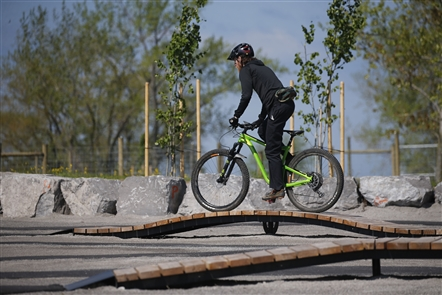 Cyclists are already hitting the trails as officials planned to cut the ribbon for the new lakeside bike park on the Outer Harbor Friday morning May 24, 2019.