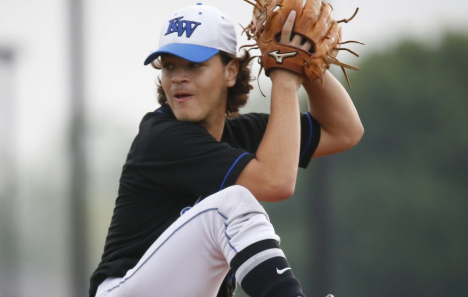 Kenmore West starting pitcher Dom Schmidt went six innings and got the victory for the Blue Devils Thursday. (Harry Scull Jr./Buffalo News)