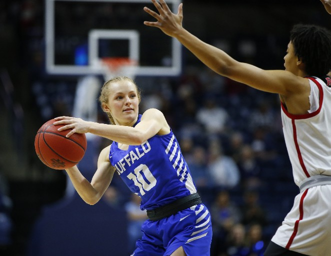 UB guard Hanna Hall, shown at an NCAA college basketball tournament in March, has gone public about her anorexia in a valuable effort to pierce the stigma surrounding mental illness. (Harry Scull Jr./Buffalo News)
