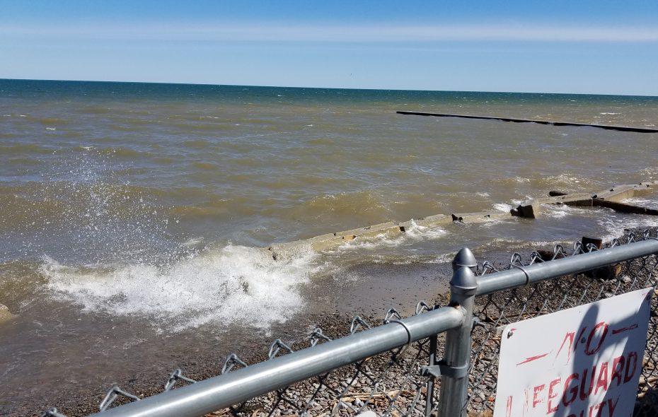 The nearly submerged beach at Krull Park in Olcott on May 8, 2019. (Thomas J. Prohaska/Buffalo News)