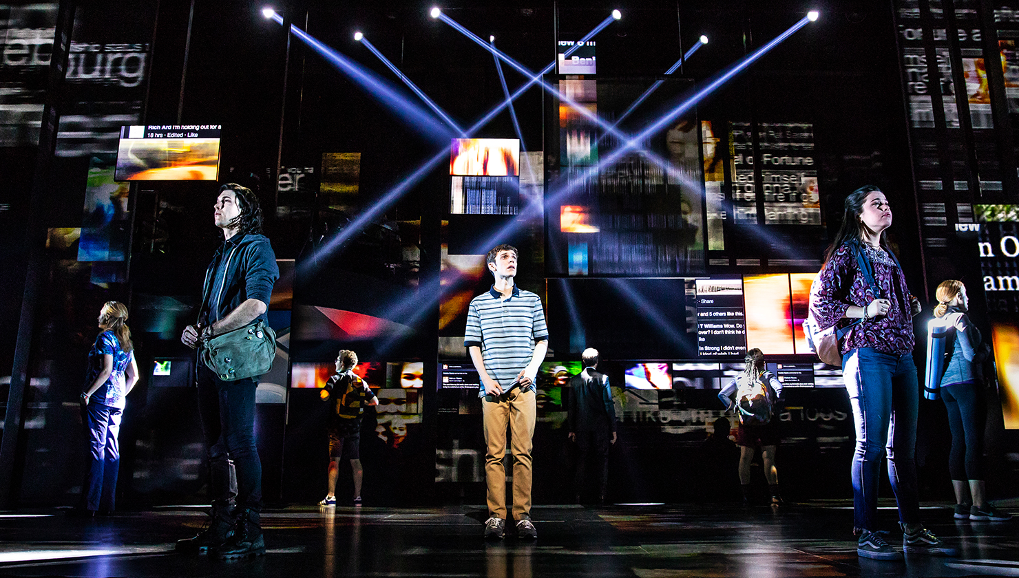 Ben Levi Ross, center, leads the cast of 'Dear Evan Hansen,' now on stage at Shea's Buffalo Theatre. (Photo by Matthew Murphy)
