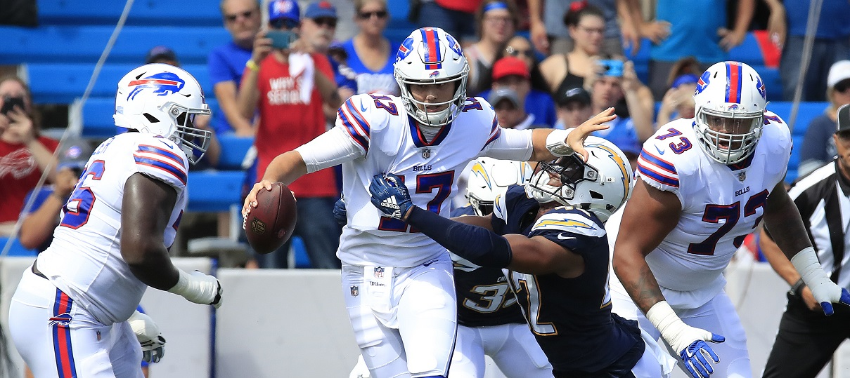 "Buffalo Bills quarterback Josh Allen admits his first NFL start against the Los Angeles Chargers was a ""baptism by fire."" (Harry Scull Jr./ Buffalo News)"