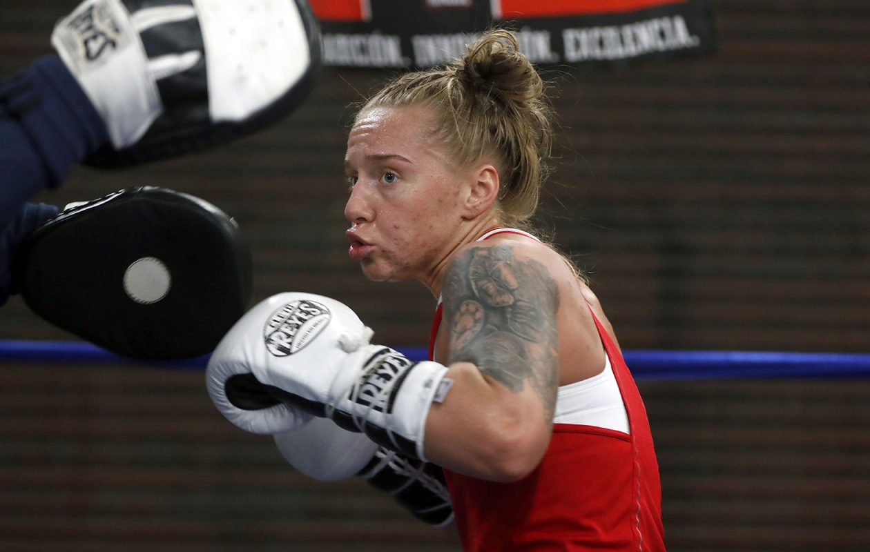 Boxer Mikiah Kreps works out with her trainer Hector Alejandro at the Gonzalez Boxing Club in Niagara Falls on April 30, 2019.  (Mark Mulville/Buffalo News)