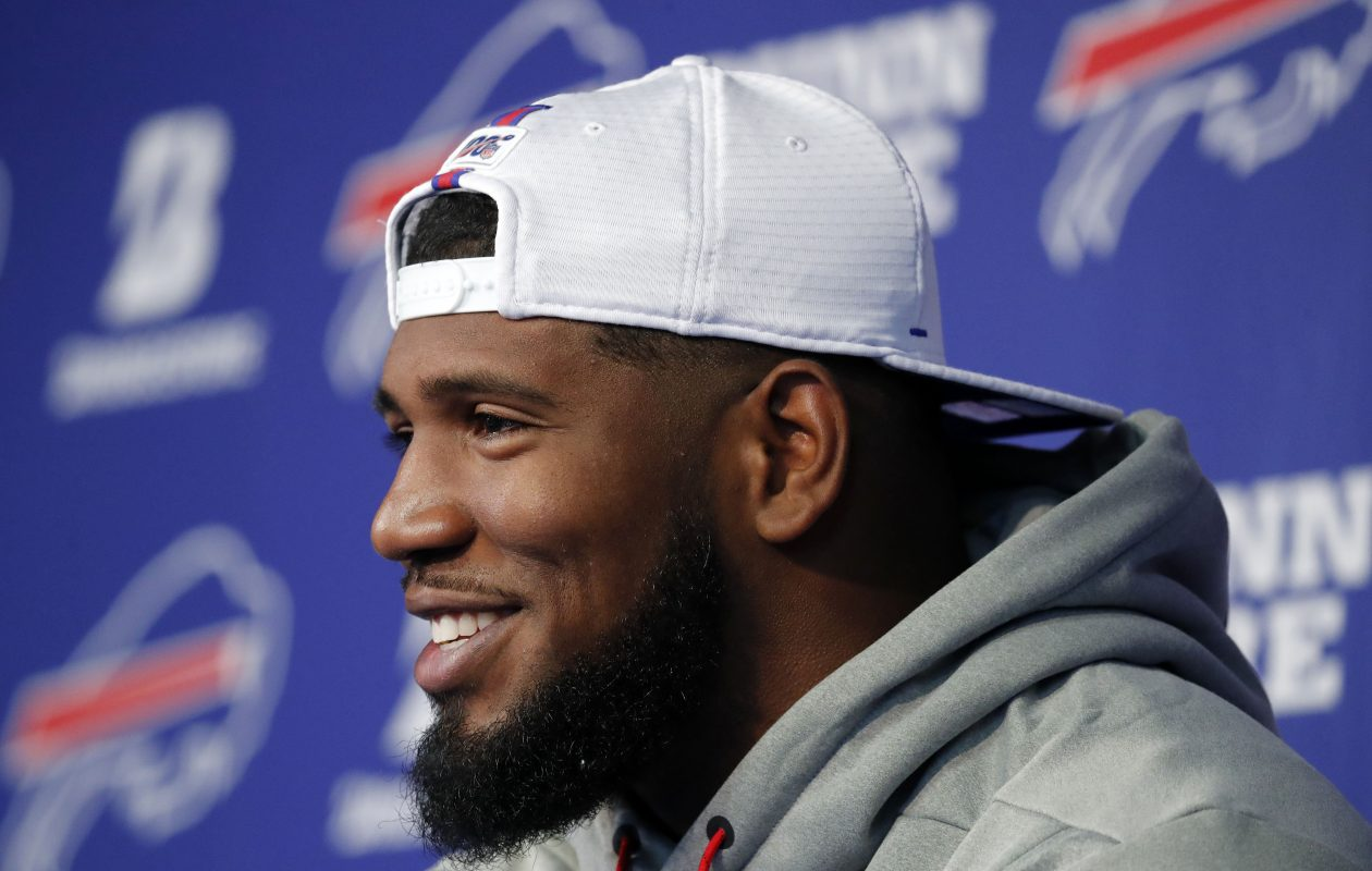 Bills first-round draft pick Ed Oliver gets his photo taken after being introduced to the media at the ADPRO Training Center. (Mark Mulville/Buffalo News)