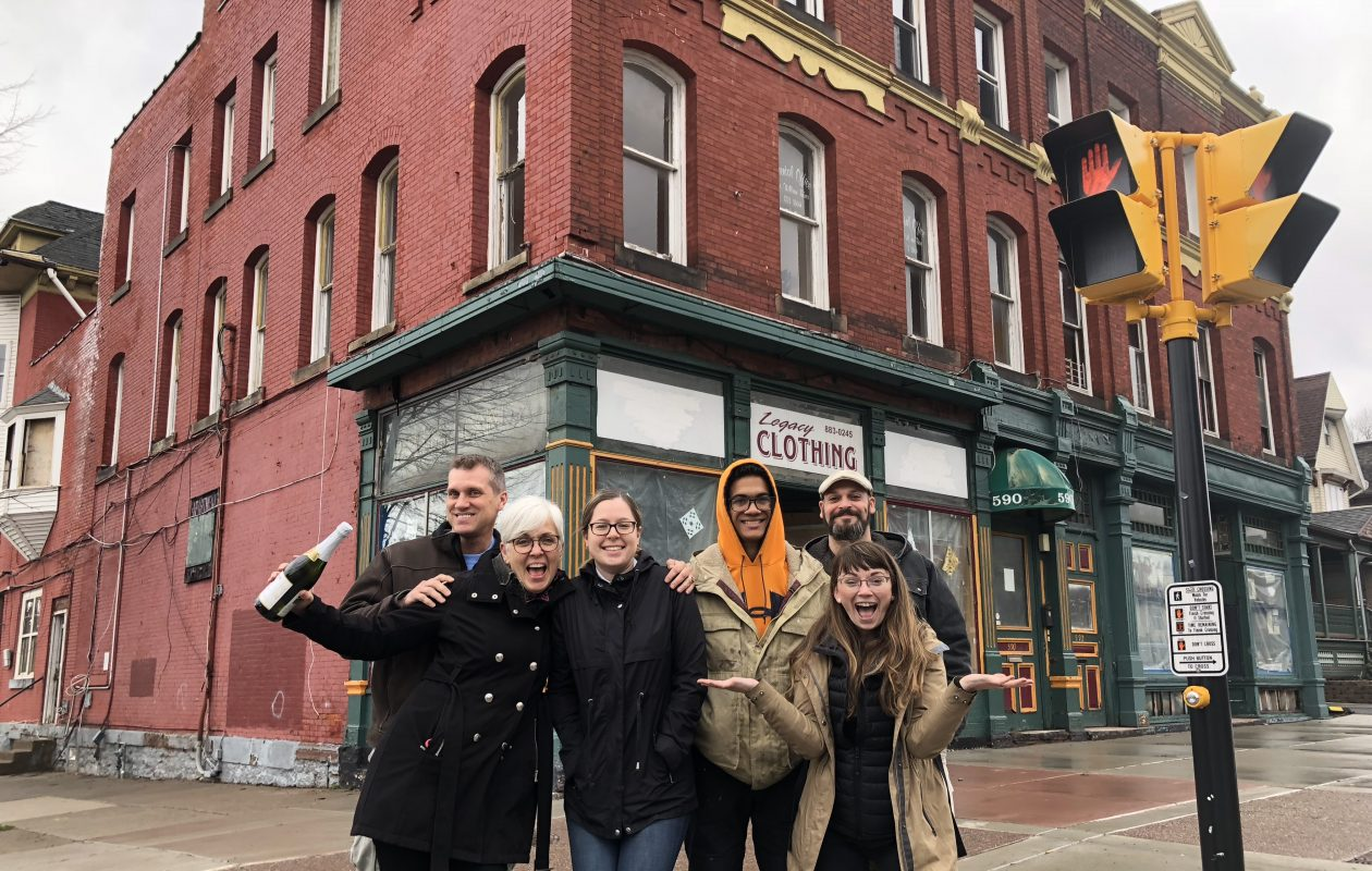 The Buffalove Development team, led by Bernice Radle, right, plans to renovate this Louise Bethune-designed building. (Photo courtesy of Buffalove Development)