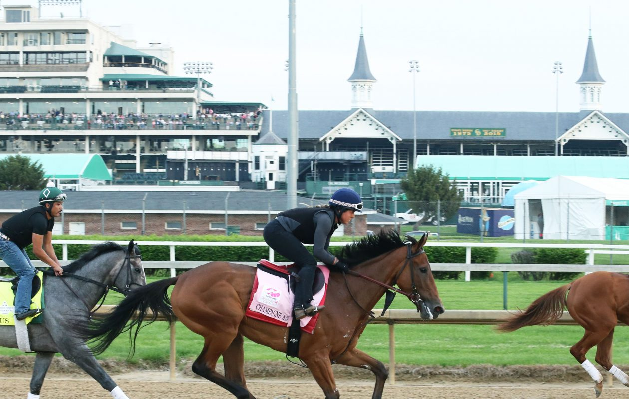 Champagne Anyone gallops over the Churchill Downs surface on May 1, 2019 Photo Credit: Coady Photo/Churchill Downs