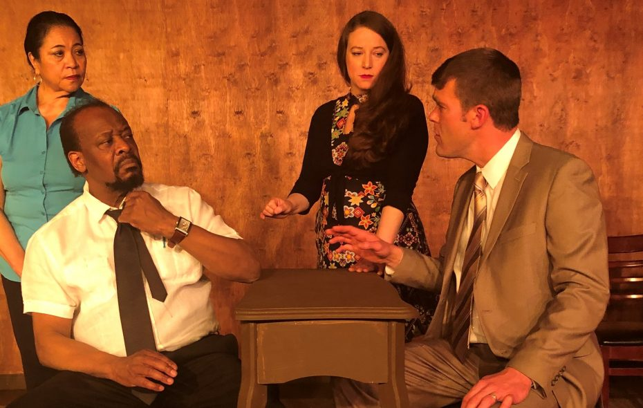 """Sandra Gilliam, left, Kinzy Brown, Elizabeth Oddy and  Peter Horn star in Desiderio Dinner Theatre's production of John Grisham's """"A Time to Kill."""""""