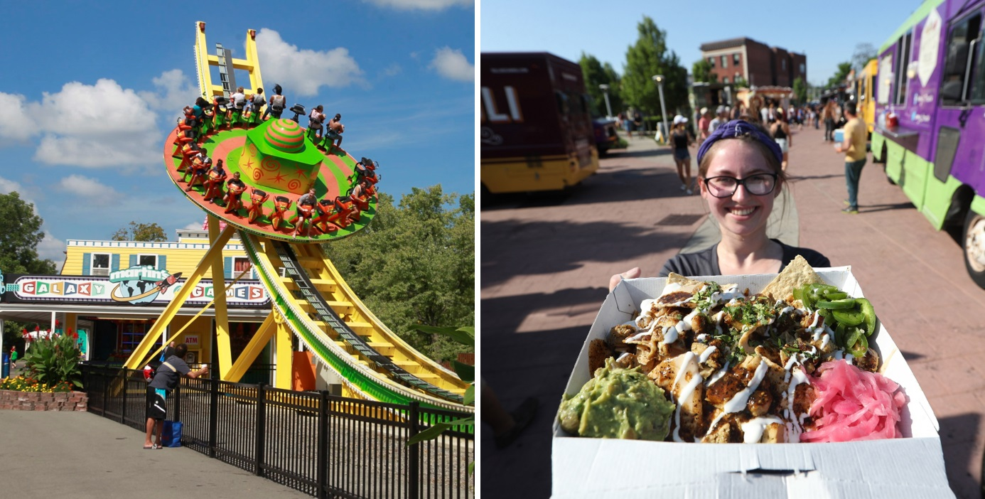 Fantasy Island's Mega Disk-O ride, left, and Lloyd Taco's Tricked Out Nachos will be together on Saturday. {Buffalo News file photos)