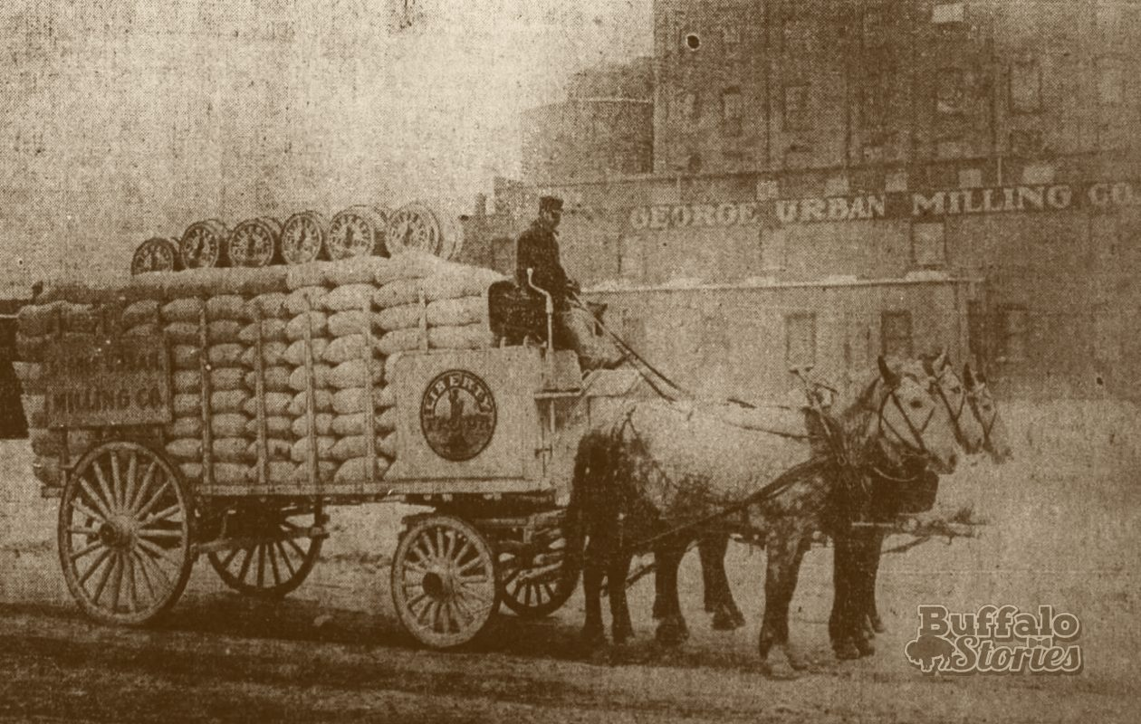 A George Urban Liberty Flour truck in front of the Kehr Street mill around 1910.