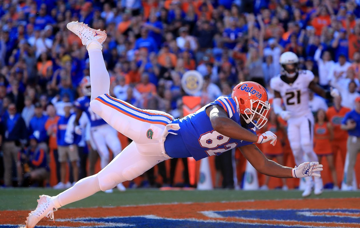 Moral Stephens of the Florida Gators attempts to make a reception during the game against the Missouri Tigers at Ben Hill Griffin Stadium on November 3, 2018 in Gainesville, Fla. (Photo by Sam Greenwood/Getty Images)