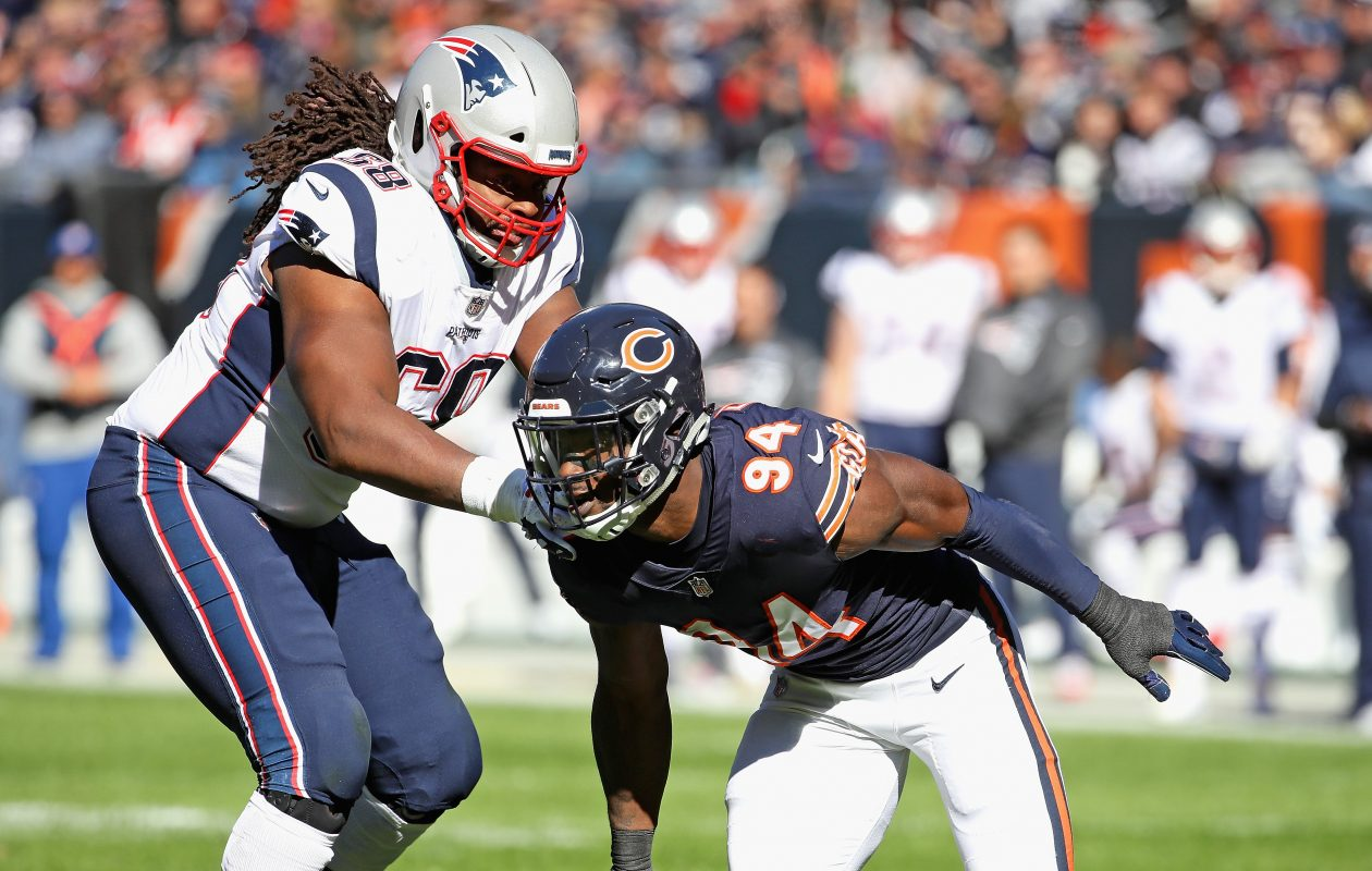 The Bills' LaAdrian Waddle, shown here blocking Leonard Floyd of the Chicago Bears, said 'Being over in New England, every time we played Buffalo, they definitely always played us tough. They always gave us a hard time and playing them, you can see those guys play hard.' (Getty Images)