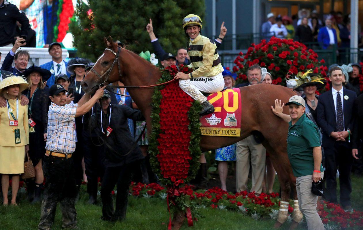Jockey Flavien Prat celebrates atop of Country House (20) after winning the 145th running of the Kentucky Derby at Churchill Downs on May 4, 2019, in Louisville, Ky. (Tom Pennington/Getty Images)