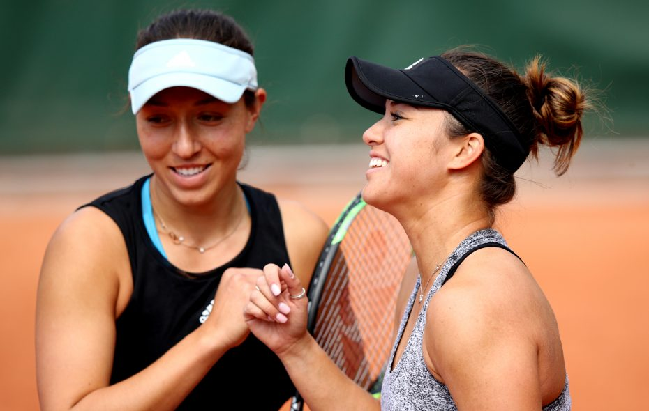 Desirae Krawczyk, right, and Jessie Pegula during their doubles match at the French Open (Adam Pretty/Getty Images)