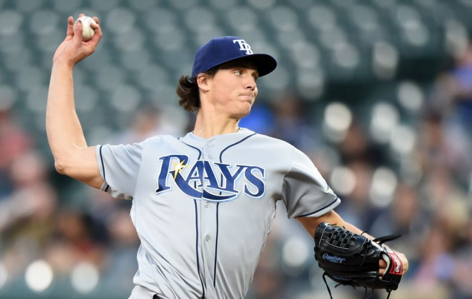Tyler Glasnow is 6-0 with a 1.47 ERA for the first-place Rays (Getty Images).