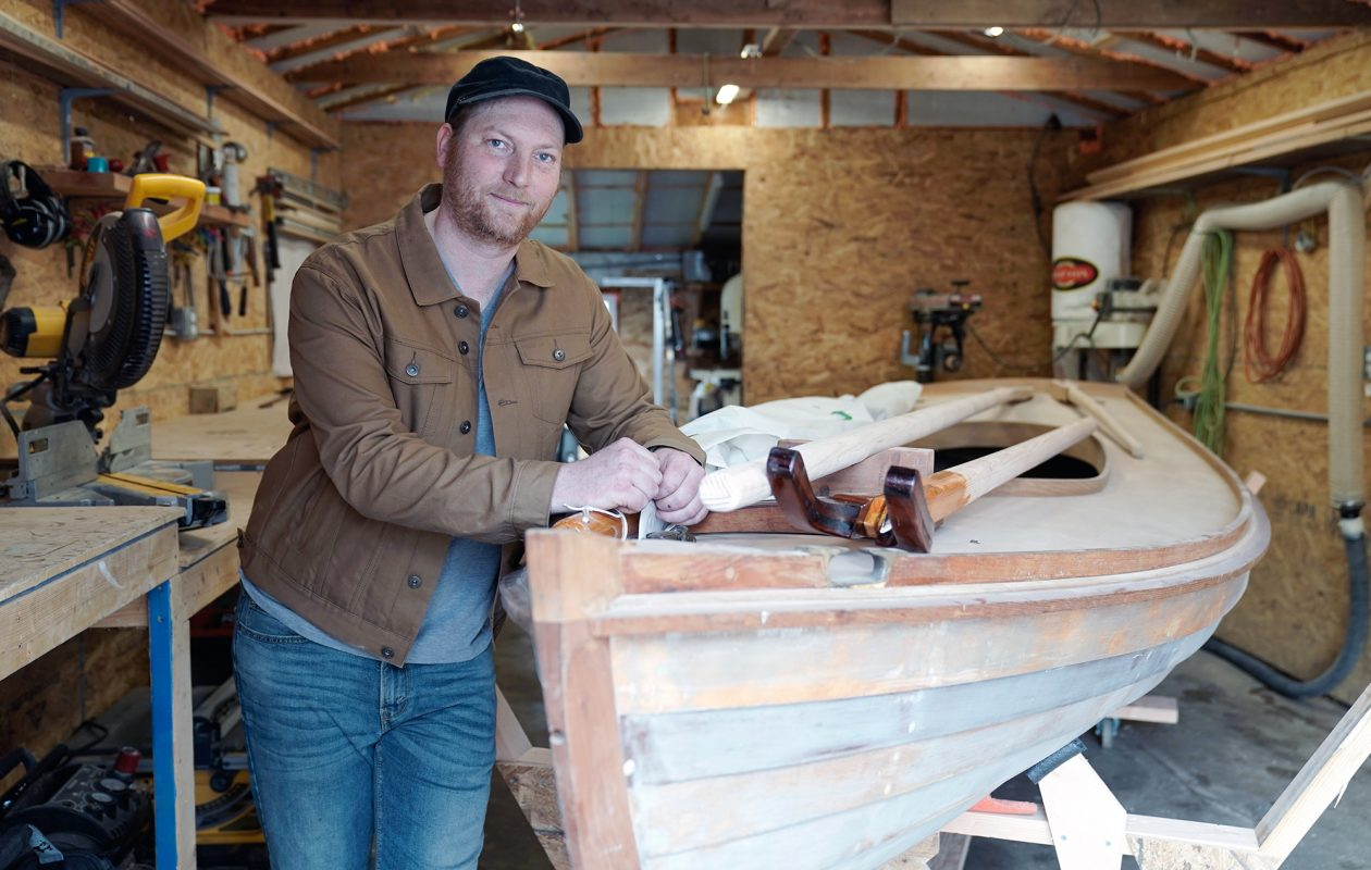 Greg Dudley crafts wooden boats by hand out of his West Side workshop. (Dave Jarosz)
