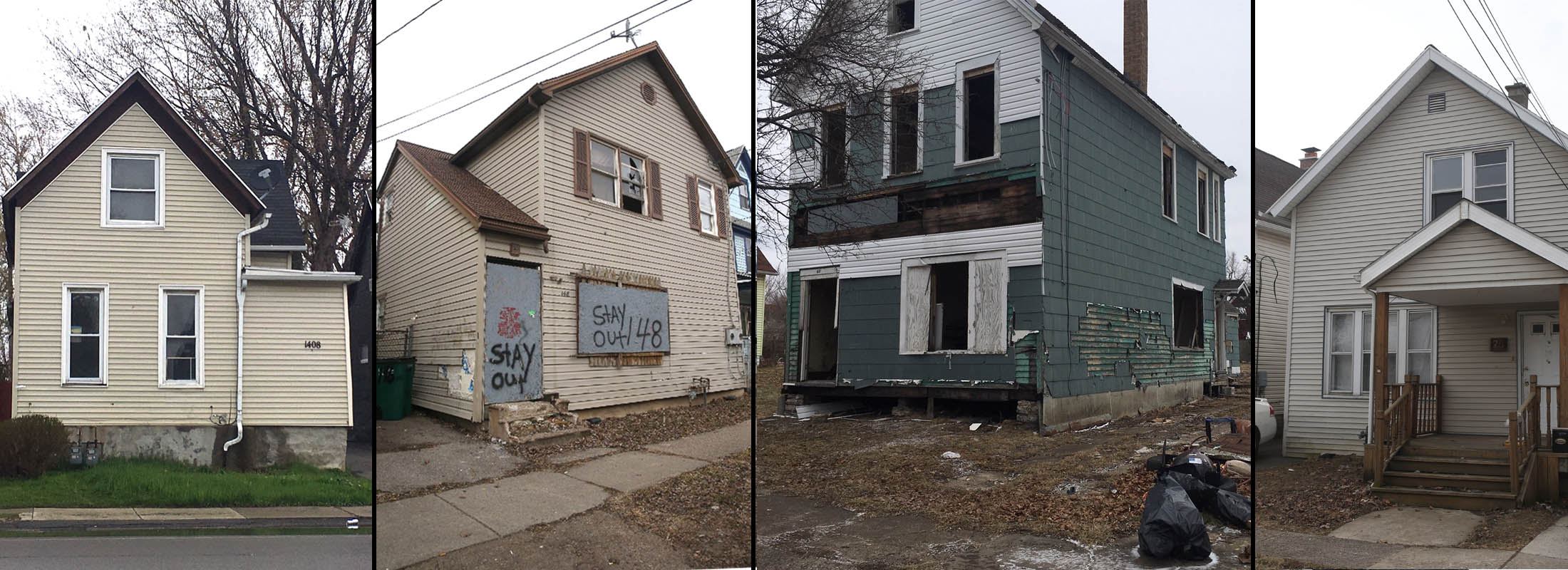 The homes at 1408 South Park, 148 Thompson St., 43 Goembel Ave. and 25 Mesmer Ave.  (Buffalo News photos)