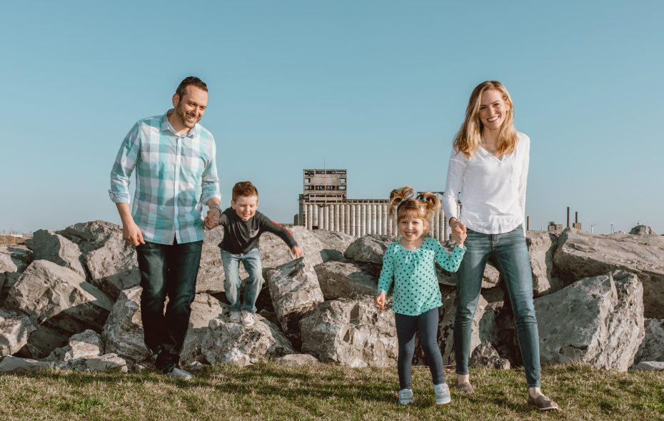 Karen Fashana, director of marketing at Visit Buffalo Niagara, out exploring with her husband, Charlie, and their two kids: 5-year-old Ray and 4-year-old Alexandra. (Katie Addo)