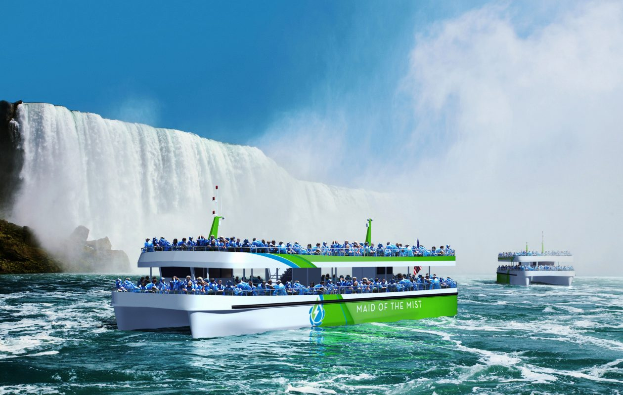 A rendering of the all-electric Maid of the Mist boats that the Niagara Falls tourism company plans to launch in September, replacing its diesel-powered boats. (Provided photo)
