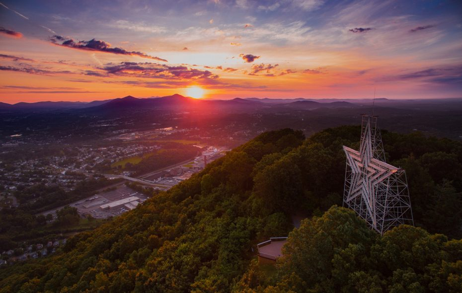 "Mill Mountain Star inspired Roanoke's nickname as ""Star City of the East."" Its park affords sweeping views of the surrounding Blue Ridge Mountains. (Sam Dean Photography/Visit Virginia's Blue Ridge)"