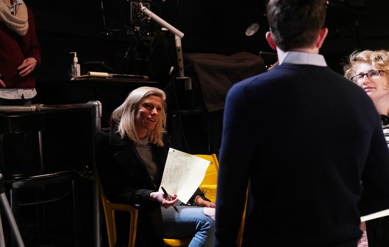 Lindsay Shookus with comedian John Mulaney on the set of NBC's 'Saturday Night Live' in March 2019. (Rosalind O'Connor/NBC)