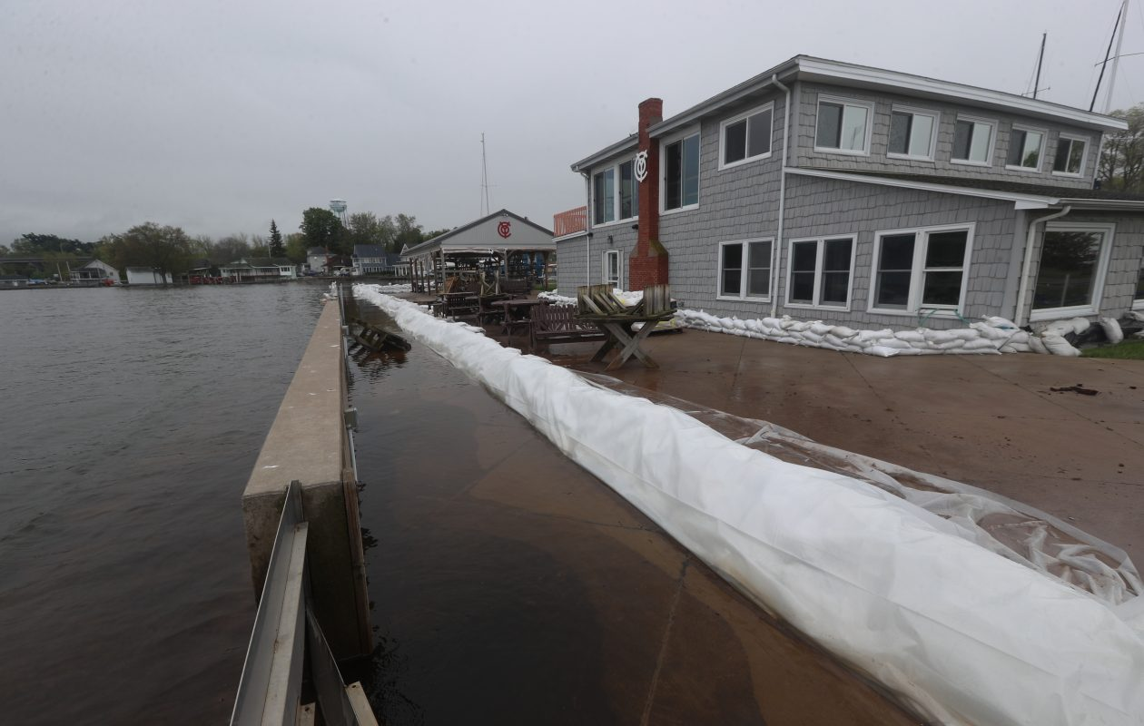 The water level of Lake Ontario has hit record highs. Sandbags lined the property around the Olcott Yacht Club on May 29, 2019. (John Hickey/Buffalo News)