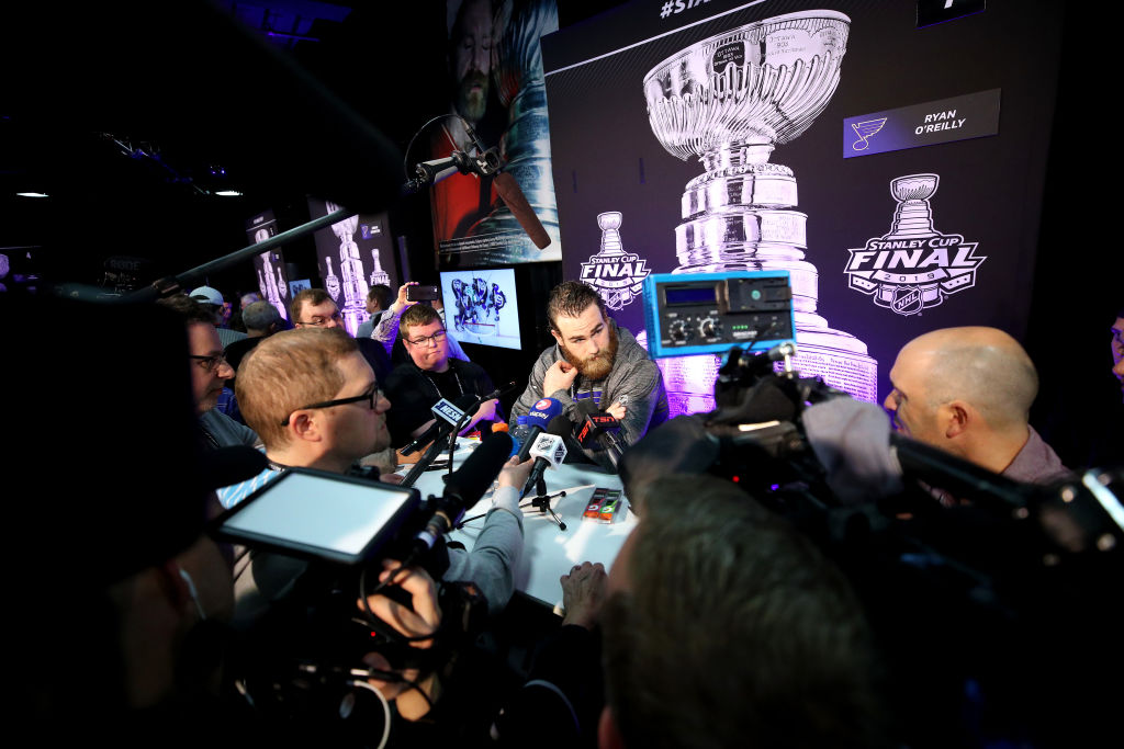 Ryan O'Reilly drew a lot of attention Sunday at Stanley Cup Media Day at TD Garden in Boston. (Getty Images)